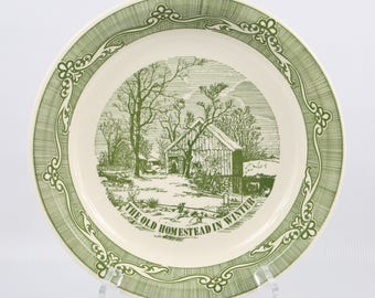 """1970's Royal China Company. Currier & Ives. Old Homestead in Winter, Near MINT Condition. 10"""" in Diameter by 1-5/8"""" Tall."""