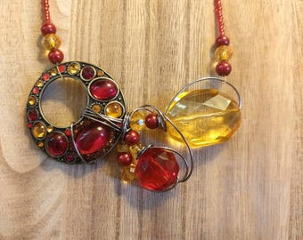 Red and Orange Statement Necklace