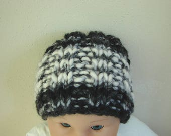 Hand knit hat black white kids hat size 1 - 1.5 yrs warm comfortable winter hat knit in the round no seams chunky black hat baby toddler hat