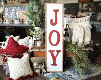 1u0027X4u0027 Vertical Joy Christmas Framed Wood Holiday Sign Porch Decor
