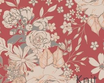Floral Universe Auburn in Knit from Art Gallery -Floral on salmon pink - Jersey KNIT cotton stretch fabric - Choose length