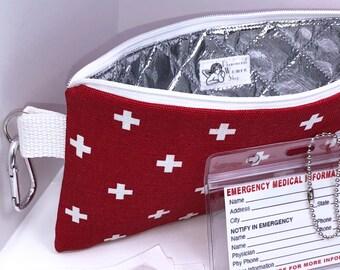 9.5 x 4.5 Diabetic Supplies Bag, Insulated First Aid Pouch, First Aid Bag, Insulated EpiPen Bag, Holds Two Epi Pens