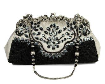 Vintage Style Black Evening Bag, Silver Cream Brocade, Jewel Bead Purse, Sequin Shoulder Bag, Clasp Purse Snap Closure