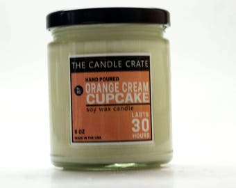 Orange Cream Cupcake 8 Ounce Scented Soy Wax Candle