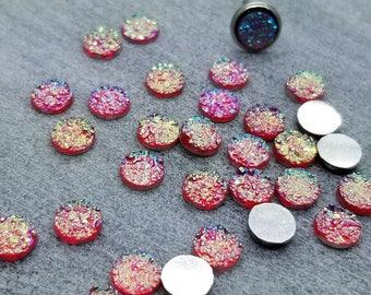 ab  hot pink 6mm titanium faux druzy Cabochons 10pcs