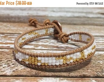 SALE Single Wrap Bracelet / Gold and White Bracelet / Silver Beaded Bracelet / Chan Luu Style Wrap