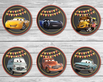 Disney Cars 3 Cupcake Toppers Chalkboard - Cars Stickers - Disney Cars Printables - Cars Party Favor - Cars Birthday - Cars New Movie