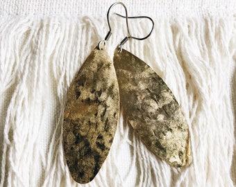 Hammered gold-tone earrings, stainless steel, boho, bohemian