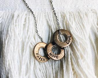 Hand stamped rustic bronze circles necklace, modern, minimalist, faith hope love, silver, keepsake,
