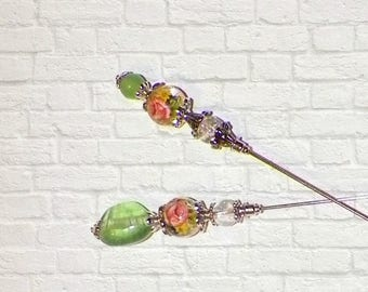 On Sale- Hat Pin  Victorian Silver Green Pink Rose Flower Vintage Style Set Of Two Glass Antique 6 Inch Steampunk Stick Lapel Pin With Prote