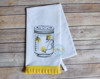 firefly, mason jar, lightning bug, embroidered dish towel, canning jar