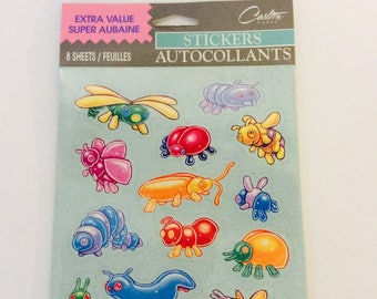 Vintage Bug Stickers Stickers Autocollants Carlton Cards 8 sheets Grasshopper Lady Bug Butterfly Dragonfly Water bug Insects Sticker Vtg 90s