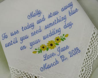 Personalized Embroidered Wedding Handkerchief for Flower Girl- Embroidered Wedding Gift - Flower Girl Wedding Gift -Flower girl handkerchief