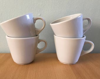 Four chunky vintage Polish ceramic coffee mugs / tea cups milky white minimalist Restaurant Ware look / feel for tropical Old Florida home!