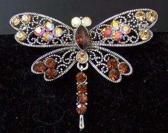 Vintage Rhinestone Dragonfly Pin/Brooch