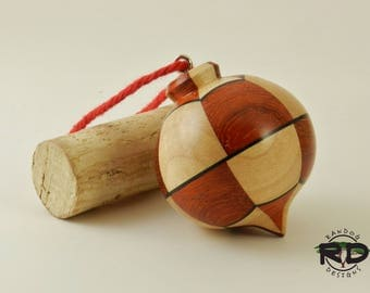 Maple and Padauk Holiday Ornament, Christmas Tree Ornament, Handmade Ornament, Wood Ornament