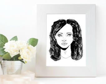 Fearless - Women Portait Series,  A5 or A6 Print of Original Artwork on thick paper with grain