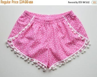 SALE Pom Pom Shorts - Pink Small Polka Dot Women Girls 100% Cotton Cute Retro Shorts Destination Wedding