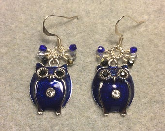 Large dark blue enamel and rhinestone owl charm earrings adorned with tiny dangling dark blue, black and clear Czech glass beads.