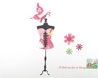 Appliqués thermocollants Bustier corset tissu liberty Mauvey roses flex pailleté patch à repasser motif femme applique liberty thermocollant