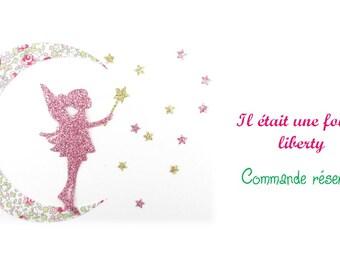 Commande réservée par Mathilde : personnalisation d'un appliqué en liberty Mitsi Valeria rouge + étoiles coordonnées