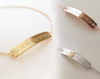 Coordinate Bracelet - Bridesmaid Gift Latitude Longitude Bracelet Custom Hand Stamped Best Friend Bracelet - 5BR