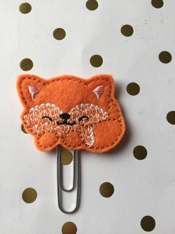 Sleeping Fox planner Clip/Planner Clip/Bookmark. Fall Planner Clip. Fox Planner Clip. Woodland Animal Planner Clip