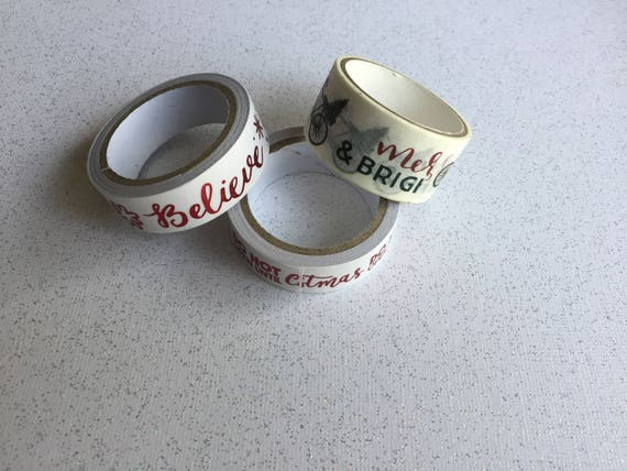 Christmas Washi Tape/Paper Tape/Decorative Tape/Packaging. Holiday washi. 3 Styles To Choose From