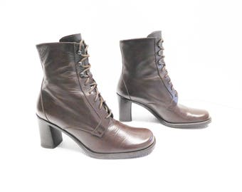 kenneth cole lace up ankle dark brown booties women boots size 7