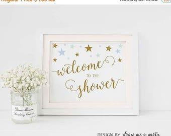20% OFF Blue and Green Baby Shower , Twinkle Little Star Welcome To Shower Sign , Mint Blue and Gold , Welcome Baby Shower Sign , Printable