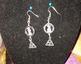 Amethyst Earrings, Triquetra Earrings, Dangle Earrings, February Birthstone Earrings, Celtic/Wiccan/Pagan Earrings