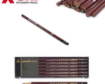 Mitsubishi Unistar Pencil - available in 2B, B and HB hardnesses - 12 pack - Made in Japan