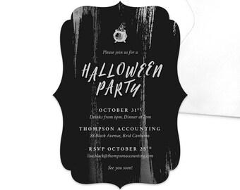 Black Strokes Halloween Party Invitation / Work and Professional Halloween Invitation / Printable Halloween Party Invitation