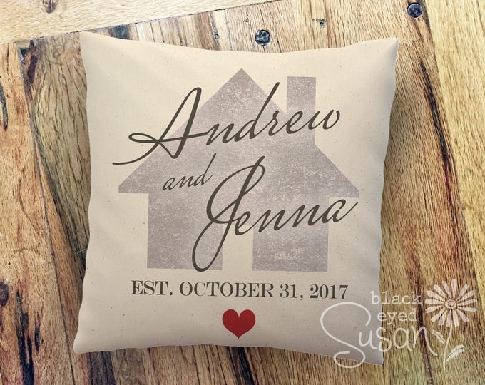 Personalized Heart and Home Pillow Cover w/ Names & Date | 100% Cotton Canvas or Lined Burlap | 12x12, 16x16, 20x20