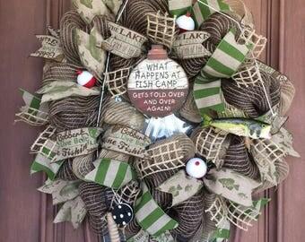 Sale Fishing Wreath, Lake House Wreath, Cabin Wreath, Burlap Fishing Wreath, Beach Wreath, Gone Fishing Wreath, Rustic Wreath