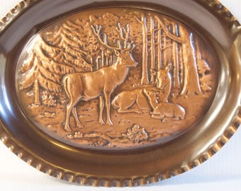 Vintage Embossed Reindeer Copper Picture plate wall hanging - Copper Wall Art - Christmas decor or Log Cabin decor