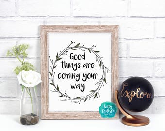 Life Quote Digital Print, Typography Print, Home Decor, Printable Art, Floral Art Print, Wall Art Print, Instant Download Dorm Decor, Poster