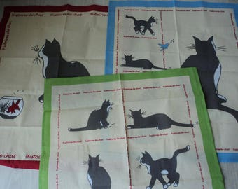French vintage set of three cotton printed cat tea towel / torchon  (04386 - 88 -90)