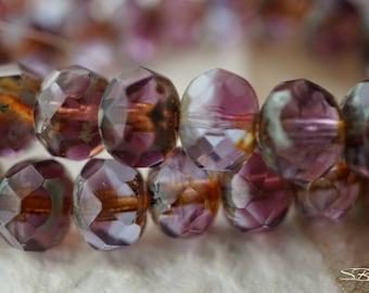 Amethyst Bliss Rondelles, Rondelle Beads, Czech Beads, N1690
