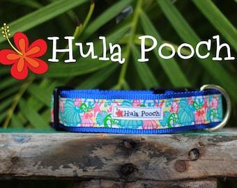 "Dog Collar ""Seashells"" Pink Turquoise Green- Medium, Large, Wide, Adjustable // FREE SHIPPING"