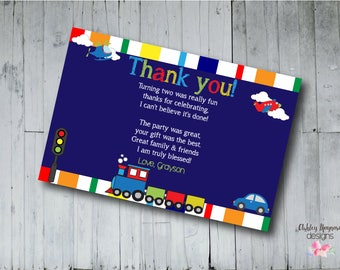 Planes, Trains, and Automobiles Birthday Thank You Card, Kids Party Thank You Card, Digital, Printable