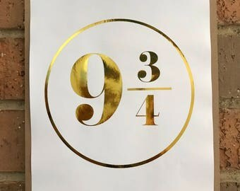 Platform 9 3/4 Harry Potter A4 Foil Print