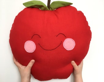 Cheerful Red Apple cushion Plushie Jude & Rose Rosy Cheeks Fruit Childs children's gift present