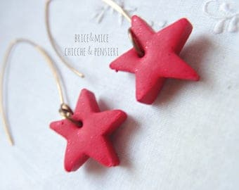 Star Earrings-Pendant earrings-pendants with red Star-Star earrings-gift for Valentine's Day gift