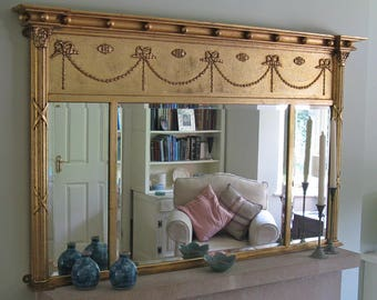 Large Modern Regency Style Gilt-Framed Wall or Over-Mantel Mirror