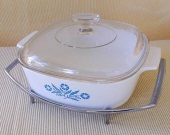 Vintage Corning Ware Casserole With Cradle, Blue Cornflower