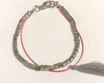 EMPTY Studio Bracelet silver and silver plated glass beads pink thread