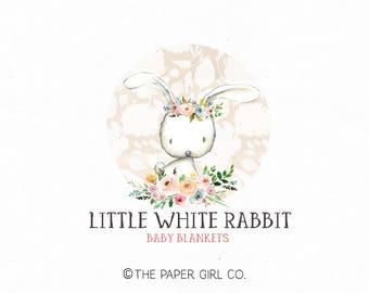 bunny logo rabbit logo premade bunny logo photography logo baby boutique logo children's shop logo sewing shop logo animal logo design