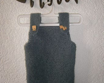 Combination overalls baby woolen 0 / 3 month gray mouse