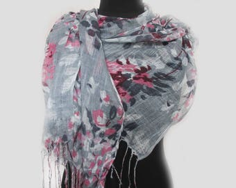 Gray Summer Party Scarf, Summer Outdoors Floral Print Scarf, Summer Gray Scarves, Boho Scarf Gift For Her